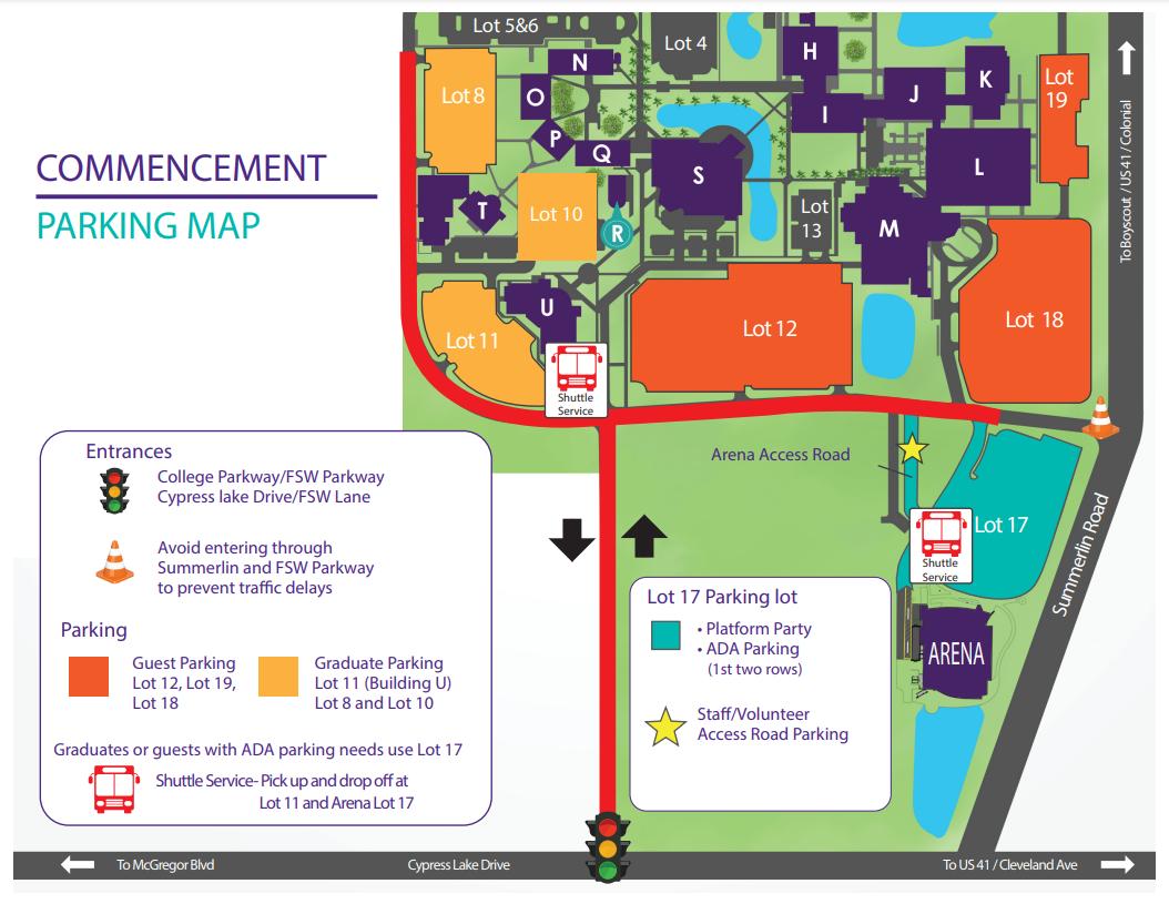 2021 Commencement Parking Map.