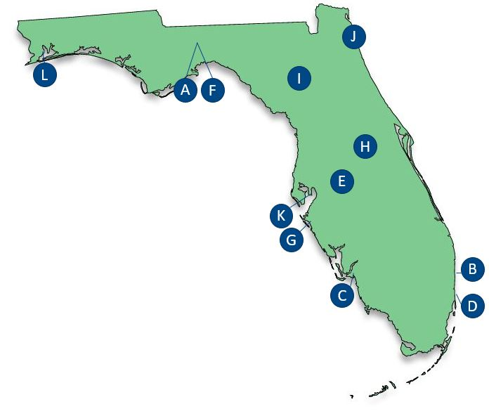 State University System of Florida Map with locations marked by a letter described by legend text